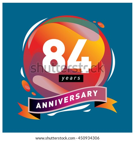 84th years greeting card anniversary with colorful number and frame. logo and icon with circle badge and background