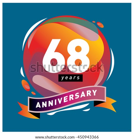 68th years greeting card anniversary with colorful number and frame. logo and icon with circle badge and background