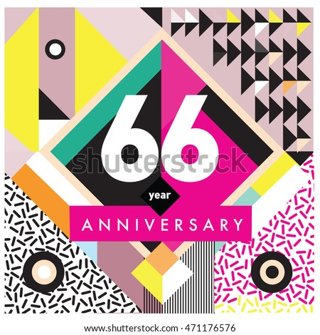 66th years greeting card anniversary with colorful number and frame. logo and icon with Memphis style cover and design template