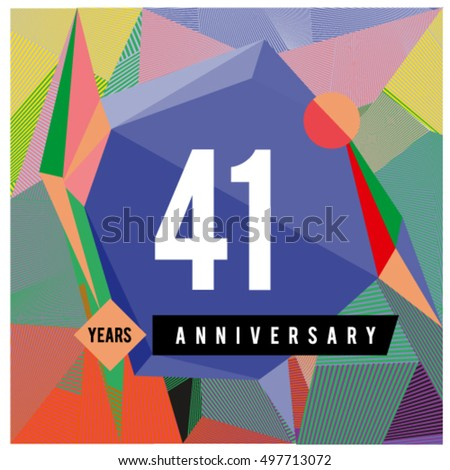 41th years greeting card anniversary with colorful number and frame. logo and icon with Memphis style cover and design template