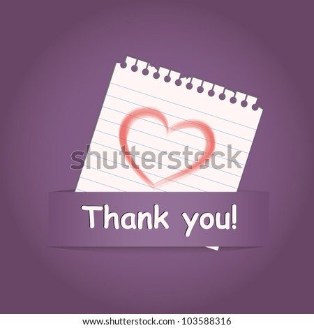"""Thank you"" a greeting card with heart on paper note - stock vector"