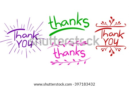 'Thank you' and 'thanks' words isolated on white. Handwritten letters with hand drawn elements. VECTOR. Purple, green, pink, red. - stock vector