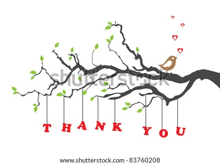 'Thank you' greeting card with bird. Vector illustration. - stock vector