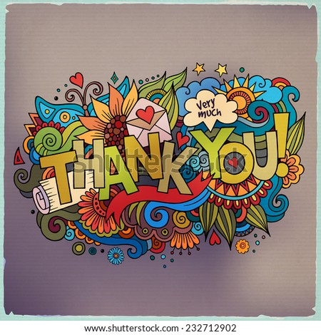 """Thank You"" hand lettering and doodles elements background. Vector illustration - stock vector"