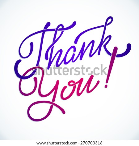 'Thank you' hand lettering  - handmade calligraphy, vector - stock vector