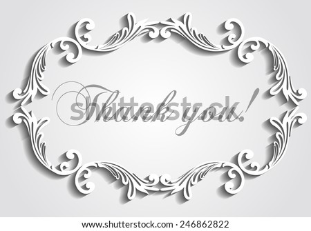 Thank you postcard,  Paper frame with shadow. Trendy Design Template.  Vector file organized in layers for easy editing.  - stock vector
