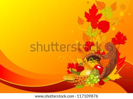 Thanksgiving background with cornucopia full of harvest fruits and vegetables - stock vector