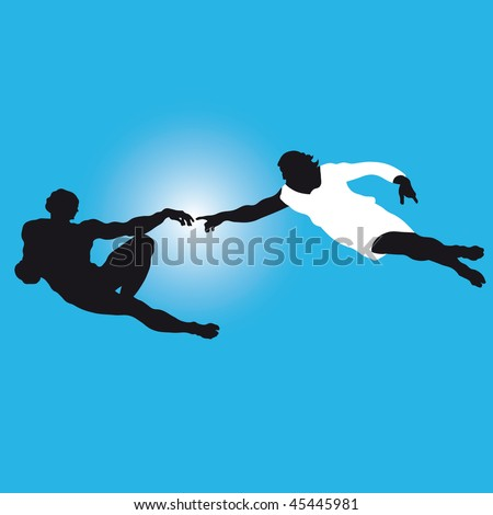 """the creation of Adam""  Silhouettes illustration of the famous fragment of Sistine Chapel fresco by Michelangelo. Vector. - stock vector"