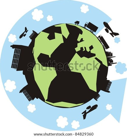 """The Green Cargo Planet"" color vector illustration - Earth with factories, warehouses, trucks, container ships, vans, cars and an arrow showing the supply chain - stock vector"