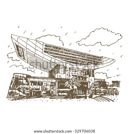 The Peak Tower In Hong Kong China Vector Hand Drawn Sketch