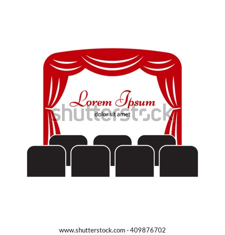Theater stage with curtain and seats vector  illustration.  Cinema logo, label or badge  template. - stock vector
