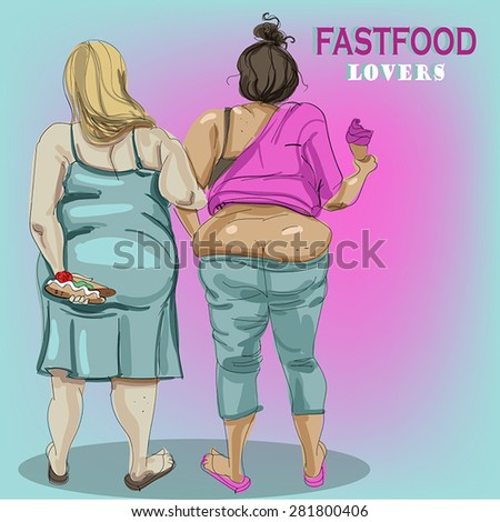 2 thick girls - view from the back. - stock vector