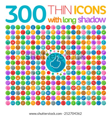 300 Thin Icons With Long Shadow - stock vector