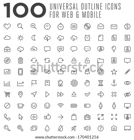 100 thin vector outline icons for web and mobile - stock vector