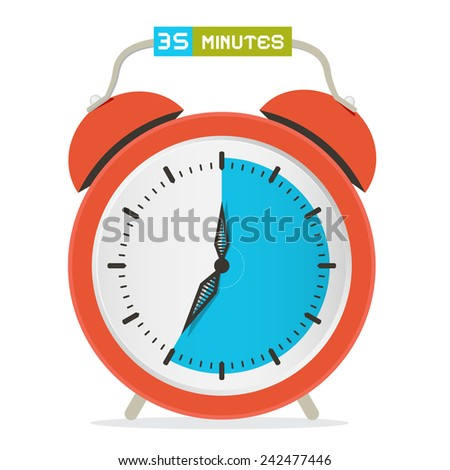 35 - Thirty Five Minutes Stop Watch - Alarm Clock Vector Illustration  - stock vector