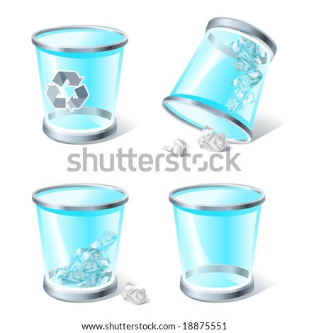 4 three-dimensional icons of trash bins,  see also Images ID: 18871447, 18716317 - stock vector
