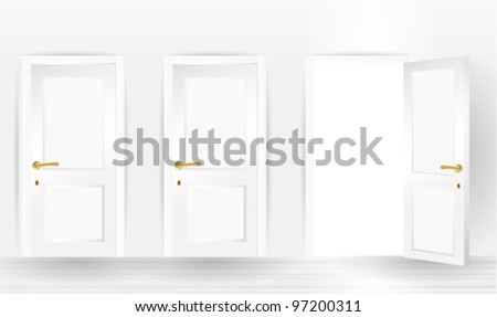 three doors, one open and two closed - stock vector