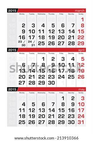 2015 Three-Month Calendar April - stock vector