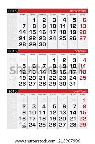2015 Three-Month Calendar October - stock vector