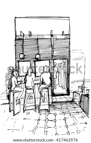 three women on the high stools drinking coffee