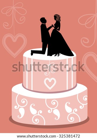 Tiered wedding cake with bride and groom topper  - stock vector
