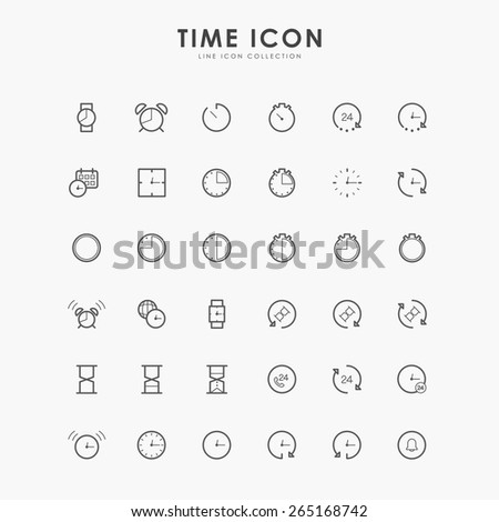 36 time and clock line icons - stock vector