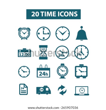 20 time, clocks icons, signs, illustrations design concept set for appliciation, website, vector on white background - stock vector