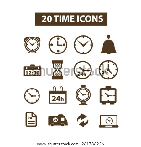 20 time, timer, clocks isolated icons, signs, illustrations collection concept design set for web and application on background, vector - stock vector