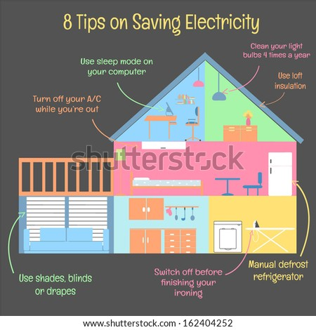 8 Tips on Saving Electricity - stock vector