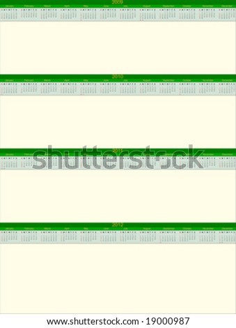 2009 to 2012 calendar with space for notes - stock vector
