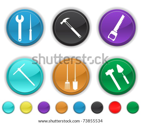 tools icons,each color icon is set on a different layer,easy to edit or re-size - stock vector