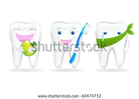 3 Tooth, Isolated On White Background, Vector Illustration - stock vector
