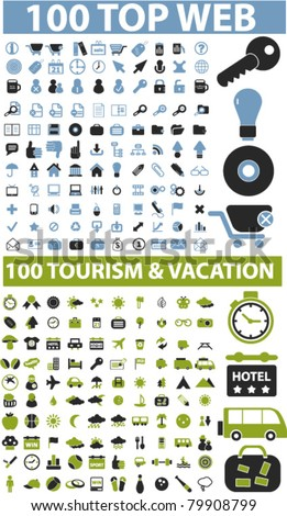 200 top web & travel signs, vector - stock vector