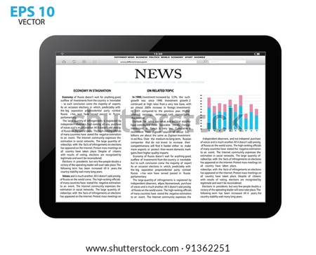 touch screen tablet pc with business article. vector - stock vector