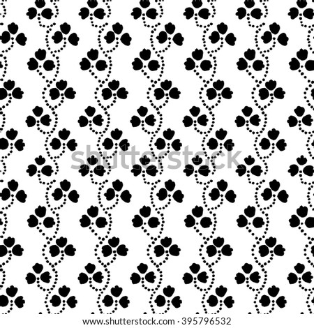Traditional block printed ornament. Seamless floral pattern, handmade Russian folk motif with clover in black and white. Textile print. - stock vector