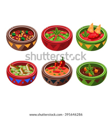 Traditional Mexican Cuisine Soup Collection Vector Drawing In Cute Cartoon Style Isolated On White Background - stock vector
