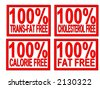 100% trans-fat, cholesterol, fat, calorie  free on white background - stock photo