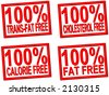 100% trans-fat, cholesterol, fat, calorie  free transparent stamps for food photos - stock photo