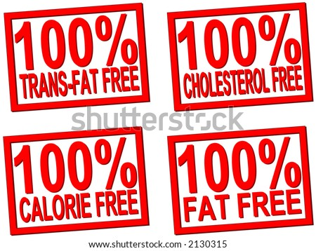 100% trans-fat, cholesterol, fat, calorie  free transparent stamps for food photos - stock vector