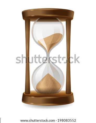 Transparent sand hourglass on white background
