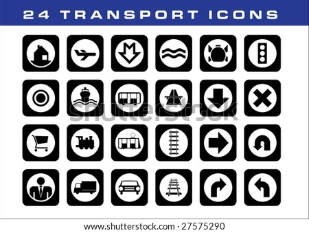 24 TRANSPORT ICONS - stock vector