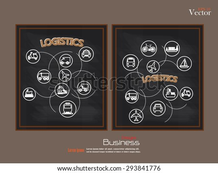 Transport icons.transportation on chalkboard.transportation .logistics.logistic icon.vector illustration.