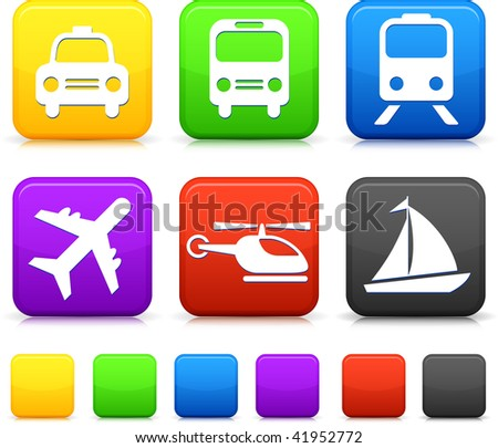 transportation icons button set - stock vector