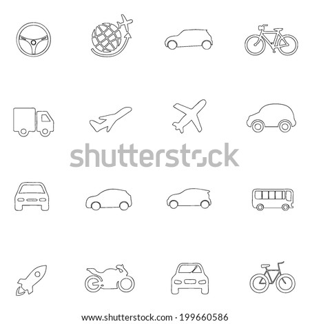 Transportation icons thin line drawing by hand Set 9  - stock vector