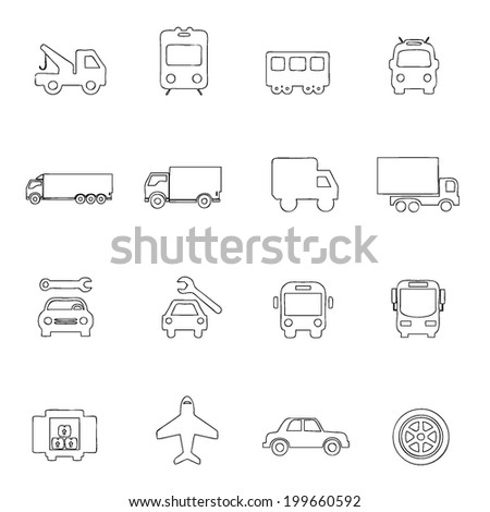 Transportation icons thin line drawing by hand Set 5  - stock vector