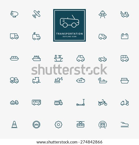 32 transportation line icons vector - stock vector