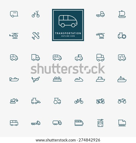 32 transportation minimal outline icons vector - stock vector