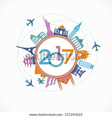 2017 travel and tourism background. Colorful template with icons and tourism landmarks. Creative happy new year 2017 design. New Year background.  File is saved in 10 EPS version.