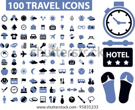 100 travel icons set,vector - stock vector