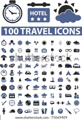 100 travel icons & signs, vector - stock vector